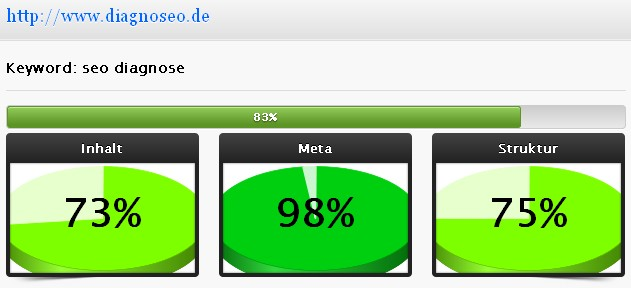 Ergebnisse www.diagnoseo.de: seo diagnose